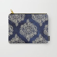 Cream Floral Moroccan Pattern on Deep Indigo Ink Carry-All Pouch