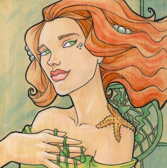 Tattooed Mermaid 11 Canvas Print