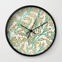 Green & Gold Branches Wall Clock