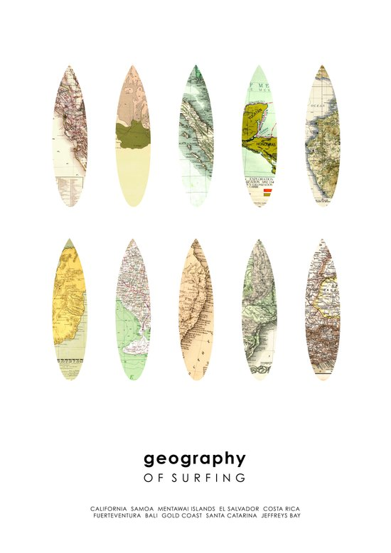 Geography of surfing Art Print