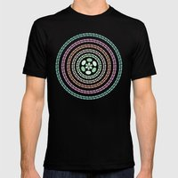 Retro floral circle 3 Mens Fitted Tee Black SMALL