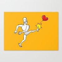 Mad Man Kicking a Heart Canvas Print