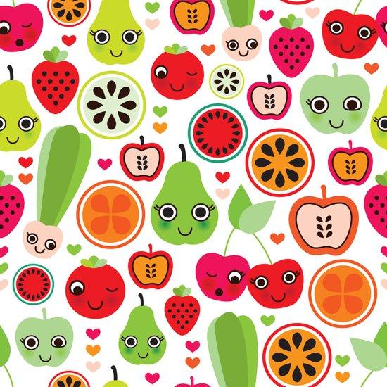 Colorful fruit cartoon characters illustration pattern Art Print