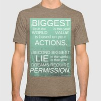 The Biggest Lie Mens Fitted Tee Tri-Coffee SMALL