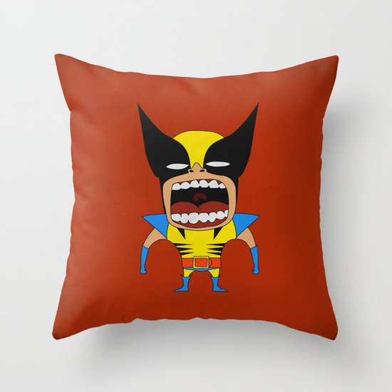 Screaming Wolverine Throw Pillow