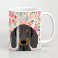 Dachshund florals cute pet gifts black and tan dachshund gifts for dog lover with weener dog  Mug