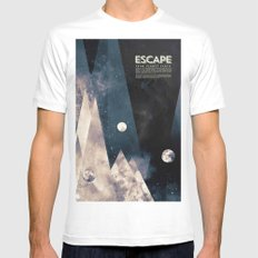 Escape, from planet earth SMALL White Mens Fitted Tee