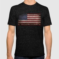 American Flag, Old Glory… Mens Fitted Tee Tri-Black SMALL