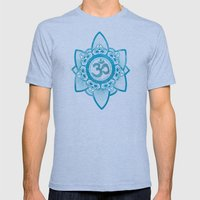 Ohm - Yoga Print Mens Fitted Tee Tri-Blue SMALL