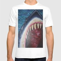 SHARK! Mens Fitted Tee White SMALL