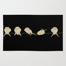 Music Sheet Musical Note Birds on Tree Branch Rug