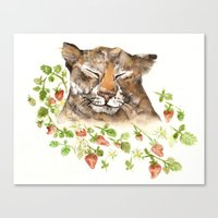 Tiger in Strawberries Canvas Print