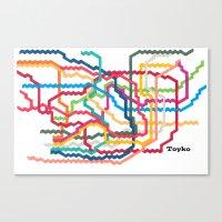 Tokyo Subway Map Canvas Print
