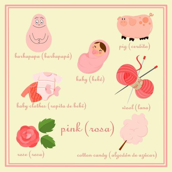 Colors: pink (Los colores: rosa) Art Print