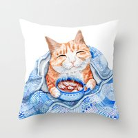 Happy Cat Drinking Hot C… Throw Pillow