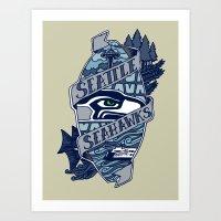 Go Hawks Art Print