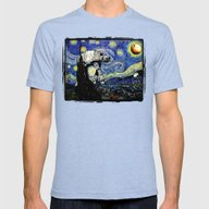 Starry Night Versus The … Mens Fitted Tee Tri-Blue SMALL