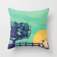 Cow Sunset Throw Pillow