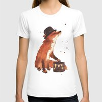 Fox In Hat, Office Decor… Womens Fitted Tee White SMALL