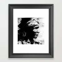 Stark - Native American Indian Portrait in B&W Framed Art Print