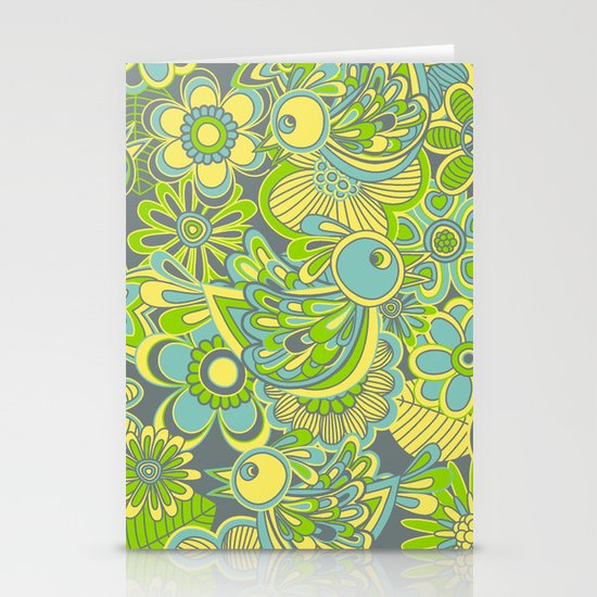 Welcome birds to...green Stationery Card