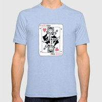 I Hate You / Poker Mens Fitted Tee Tri-Blue SMALL