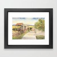 Farm Buildings by the Roadside Framed Art Print