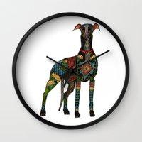 greyhound white Wall Clock