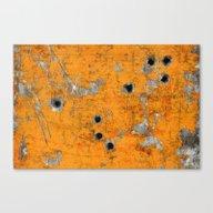 Bullet Riddled Metal Canvas Print