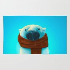 Polar bear with scarf Rug