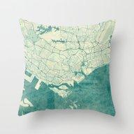 Singapore Map Blue Vinta… Throw Pillow
