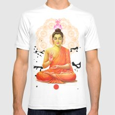 Buddha White SMALL Mens Fitted Tee