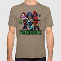 RonkyTonk Halloween Roller Derby Shirt Mens Fitted Tee Tri-Coffee SMALL