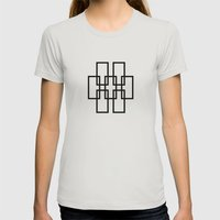 White outline rectangles on black Womens Fitted Tee Silver SMALL