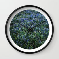 Planetary Bodies - Blue Flowers Wall Clock