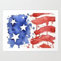 American Flag Watercolor 'Merica! Art Print