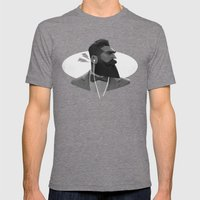 Manly Man Mens Fitted Tee Tri-Grey SMALL