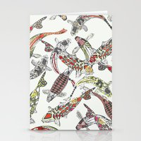 lucky koi off white Stationery Cards