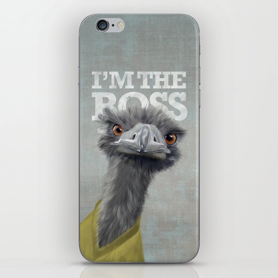 I am the Boss - Ostrich on a rustic background iPhone & iPod Skin