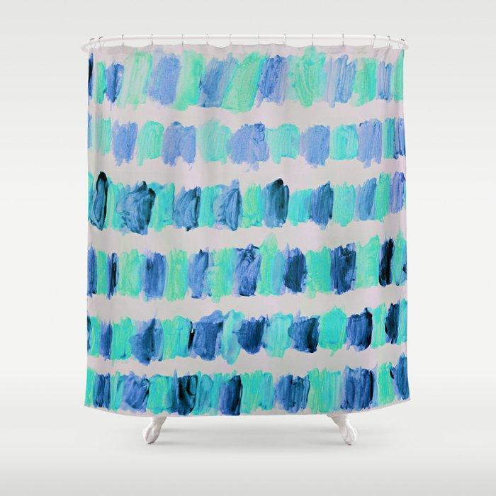Ocean Brush Strokes In Mint Blue On Grey Shower Curtain