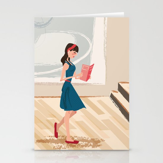 Pretty Girl at the Art Museum Stationery Card