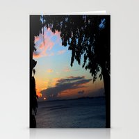 SUNSET BETWEEN TREES. Stationery Cards