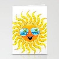 Summer Sun Cartoon with Sunglasses Stationery Cards