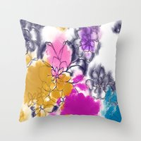 Abstract Flowers - Water… Throw Pillow