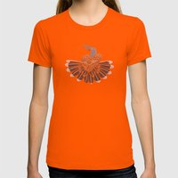 Peace And Love Womens Fitted Tee Orange SMALL