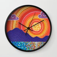 Elegant Sunset Over Moun… Wall Clock