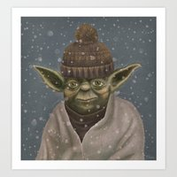 Christmas Yoda Art Print