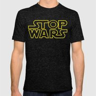 Stop Wars Mens Fitted Tee Tri-Black SMALL