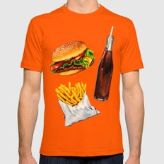 Cheeseburger Fries & Soda Pattern Mens Fitted Tee Orange SMALL