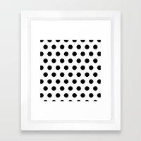 White & Black Dots Framed Art Print